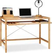 relaxdays - computertafel bamboe - tafel - computer bureau - computermeubel
