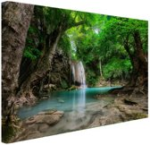 Erawan Waterval in jungle Thailand foto Canvas 120x80 cm - Foto print op Canvas schilderij (Wanddecoratie)