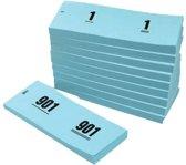 Garderobeblokken - Nummerblokken - Loten | 1-1000 - Blauw