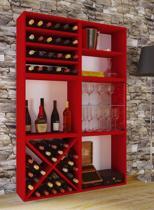 Wijnkast wijnrek Weino 6 vakken rood