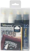 2x Securit Waterproof krijtmarker large zwart/wit, blister met 4 stuks