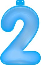 Opblaas cijfer 2 blauw