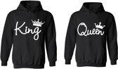 King & Queen hoodies | hippe valentijn sweaters | 2 stuks | print by topmen