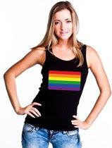 Gay pride singlet shirt/ tanktop met Regenboog vlag zwart dames M