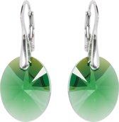 Oorbellen met Swarovski Kristallen Oval Moss Green - 925 zilver