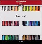 Standard set 36 kleuren 20 ml tubes acrylverf