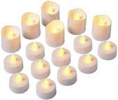 LED theelichtjes 16 stuks - kunststof waxinelichtjes
