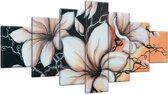 Schilderij handgeschilderd Magnolia   Bruin , Zwart , Oranje   210x100cm 7Luik
