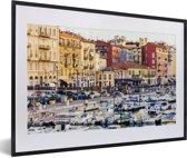 Foto in lijst - De drukbezochte haven van de Franse stad Nice fotolijst zwart met witte passe-partout 60x40 cm - Poster in lijst (Wanddecoratie woonkamer / slaapkamer)