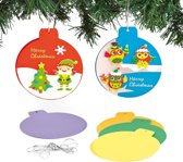 Blanco kaarten gekleurde kerstbal - creatieve knutselpakket voor kinderen en volwassenen om te maken kerstkaarten (6 stuks)