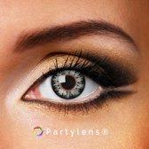 Kleurlenzen 'Glossy Grey' jaarlenzen inclusief lenzendoosje - grijze contactlenzen Partylens®