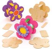 Baker Ross Sets met houten mandje met bloemen (4 stuks per verpakking) Knutselwerkjes met lentethema voor kinderen om naar eigen smaak te versieren