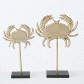 Krab op voet - Goud - 2 set- Aluminium - 33cm - 26cm