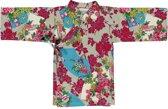 Lucky Wang NY Meisjes Kimono Bruin Turkoise met bloemen ls - LW107 - Maat 86