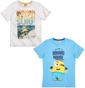 Minions-2-pak-T-shirt-wit-maat-128