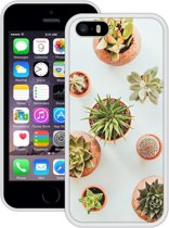 Case Creatives Telefoonhoesje Vetplanten - iPhone 5 5s SE  Wit - Handgemaakt