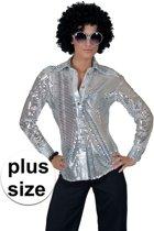 Toppers - Grote maat zilveren disco verkleed blouse voor dames 44-46 (2XL/3XL)