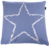 IN THE MOOD - KUSSEN STAR SILVER 50X50 FADED BLUE