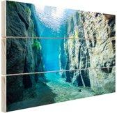 Rotsen onder water Hout 30x20 cm - klein - Foto print op Hout (Wanddecoratie)