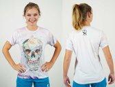 Bones Sportswear Dames T-shirt Flower Skull maat L