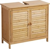 Wastafel onderkast met uitsparing - 30 x 60 x 67 cm (L x B x H) - Wastafelonderkast - Badkamermeubel staand van bamboe hout - Badkamerkast / Meubel / kastje / wastafelkast voor Badkamer - Decopatent®