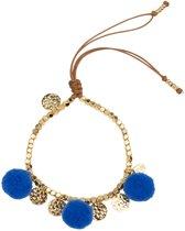Jozemiek Pompom Armband 14K Goud - Blauw