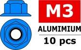 Team Corally - Aluminium zelfborgende zeskantmoer met flens - M3 - Blauw - 10 st