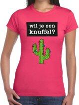 Wil je een Knuffel tekst t-shirt roze dames - dames shirt  Wil je een Knuffel? L