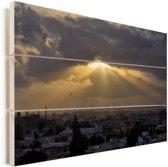 Zonnestralen over Karachi Vurenhout met planken 60x40 cm - Foto print op Hout (Wanddecoratie)