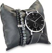 Kaliber 7KA SET012 Horloge Set met Armbanden - Leren Band - Ø 40 mm - Zwart / Zilverkleurig
