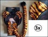 3x Bling bling dierenset 3-delig tijger