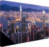 FotoCadeau.nl - Hong Kong verlichting Canvas 80x60 cm - Foto print op Canvas schilderij (Wanddecoratie)