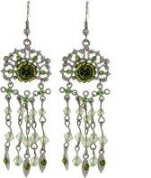Behave ® - oorhanger dames zilver kleur met groene steentjes