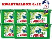 Ariel regular 3in1 pods kwartaalbox 72 wasbeurten (6x12)