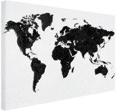 Wereldkaart zwart Canvas 80x60 cm - Foto print op Canvas schilderij (Wanddecoratie woonkamer / slaapkamer)