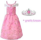 Prinsessen verkleedjurk roze maat 128/134 (labelmaat 140)