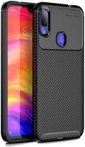 Redmi Note 7 Siliconen Carbon Hoesje Zwart
