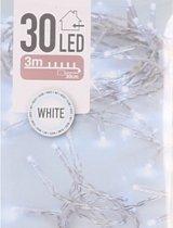Kerstverlichting op batterij helder wit 30 lampjes