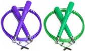 #DoYourFitness - 2x Speed Rope - »Rapido« - Springtouw met stalen kabel - 300 cm - lila & groen