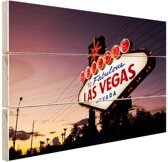 Verlicht Las Vegas welkomsbord Hout 30x20 cm - klein - Foto print op Hout (Wanddecoratie)