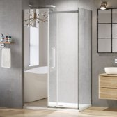 Douchecabine Rechthoek Schuifdeur Premium EasyClean 8 mm Glas Profielloos Met Spiegel - 120 x 80 cm