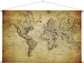 Historische wereldkaart op schoolplaat vintage 60x40 cm ronde stokken - Wereldkaarten.nl