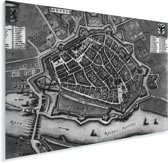 Ouderwetse en historische zwart wit stadskaart van Arnhem Plexiglas - Plattegrond 160x120 cm - Foto print op Glas (Plexiglas wanddecoratie) XXL / Groot formaat!