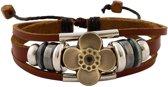 Leren armband uit Tibet met bloem en kralen