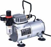 Airbrusch Compressor Mini Olievrij 0- 4 bar 1 cillinder 1/6PK CE gekeurd met drukregelaar