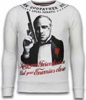 Local Fanatic Godfather - Rhinestone Sweater - Wit - Maten: XXL