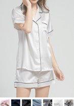 Dames zijden pyjama set (korte mouwen, korte broek)
