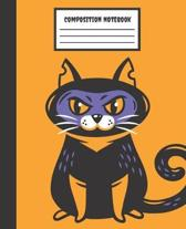 Composition Notebook: Black Cat Halloween - Wide Ruled Blank Lined for Girls, kids, teens, students, teachers, school, home, college writing