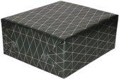 Inpakpapier/cadeaupapier antracietgrijs/gouden geometrische driehoek print 150 x 70 cm - Cadeauverpakking kadopapier