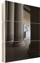 Architectuur bij het Lincoln Memorial in Amerika Vurenhout met planken 20x30 cm - klein - Foto print op Hout (Wanddecoratie)